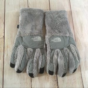 The North Face Gray Fuzzy Faux Fur Gloves Women's